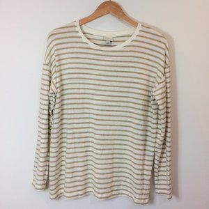A New Day White & Tan Striped Long Sleeve Top Med